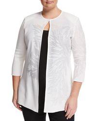 Ming Wang | White Tonal Floral-print Knit Jacket | Lyst