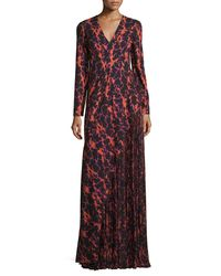 J. Mendel | Multicolor Ikat Printed Pleated-inset Gown | Lyst