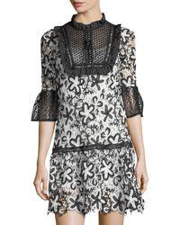 Haute Rogue - Black Amelie Daisy-lace Drop-waist Dress - Lyst