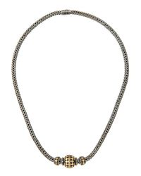 John Hardy | Blue Three-bead Dot Chain Necklace | Lyst
