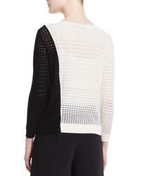 Magaschoni - Black Colorblock Open-weave Sweater - Lyst