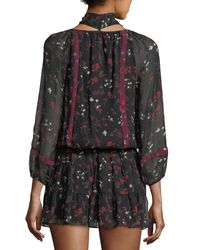 Joie - Black Grover Smocked-waist Silk Dress - Lyst