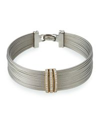 Alor - Gray Multi-row Stacked Bangle W/ Diamonds - Lyst