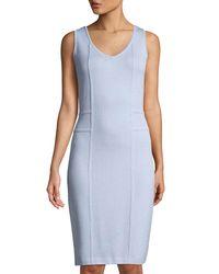 St. John - Blue Santana-knit Sleeveless Dress With Welt Detail - Lyst