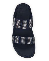 Fitflop Black Flare Strobe Platform Slide Sandals