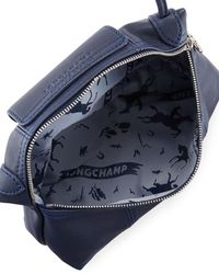 Longchamp - Blue Le Pliage Cuir Small Crossbody Bag - Lyst