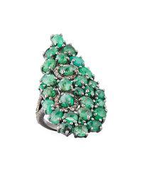Bavna - Green Teardrop Emerald & Pave Diamond Cocktail Ring - Lyst