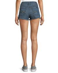 7 For All Mankind - Blue High-waist Distressed Cutoff Shorts - Lyst