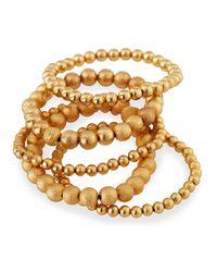 Lydell NYC - Metallic Bead Stretch Bracelets Set Of 5 - Lyst