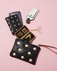 Neiman Marcus - Black Pearly Passport And Luggage Tag Set - Lyst