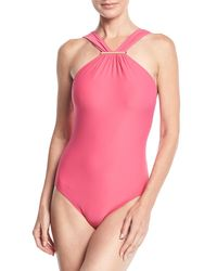 MICHAEL Michael Kors - Pink High-neck One-piece Swimsuit - Lyst
