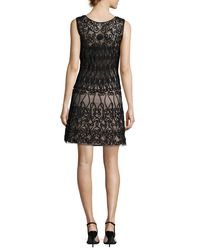 Aidan By Aidan Mattox - Black Sleeveless Soutache-trim A-line Cocktail Dress - Lyst