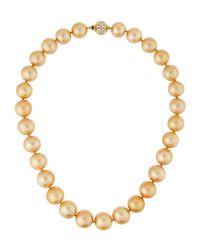 Belpearl - Metallic 14k Golden South Sea Pearl Necklace 18l - Lyst