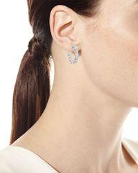 Neiman Marcus - 18k White Gold Diamond Hoop Earrings - Lyst