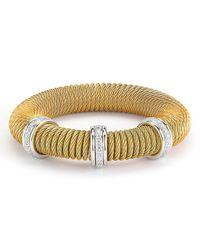 Alor   Metallic Micro-cable Pave Diamond Spring Coil Bracelet   Lyst