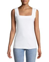 714e1cd5bf Lyst - Three Dots Square-neck Tank Top in White