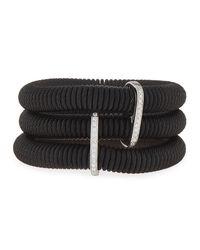 Alor   Black Classique Three-row Spring Coil Cable & Diamond Bracelet   Lyst