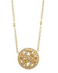 Penny Preville | Metallic 18k Round Pave Diamond Floral Pendant Necklace | Lyst