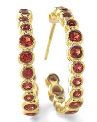 Ippolita - 18k Glamazon Stardust #1 Hoop Earrings With Orange Sapphires - Lyst