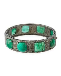 Bavna | Green Emerald & Diamond Pavé Bangle Bracelet | Lyst