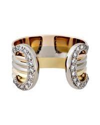 Cartier - Metallic Estate 18k Tri-color Double-c Ring W/ Diamonds - Lyst