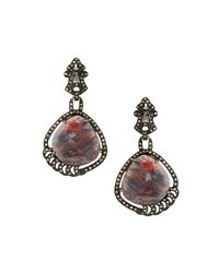 Bavna - Multicolor Brownish-red Sapphire & Diamond Drop Earrings - Lyst