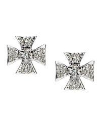 Elizabeth Showers - Metallic Sapphire Pave Mini Maltese Stud Earrings - Lyst