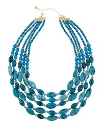 Lydell NYC - Blue Multi-strand Agate Beaded Necklace - Lyst