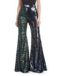 Halpern - Blue Sequined Wide-leg Pants - Lyst
