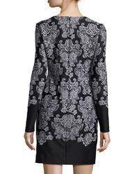 Nicole Miller - Black Long-sleeve Lace-print Sheath Dress - Lyst