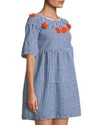 Haute Rogue - Blue Gingham Tassel-trim Dress - Lyst