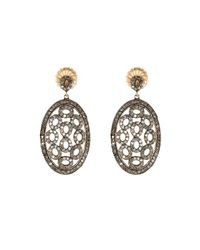 Bavna - Metallic Mixed Oval-drop Diamond Earrings - Lyst