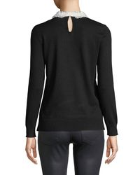 Neiman Marcus - Black Lace-collar Sweater - Lyst