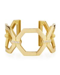 Penny Preville - Metallic 18k Large Square Link Diamond Cuff Bracelet - Lyst