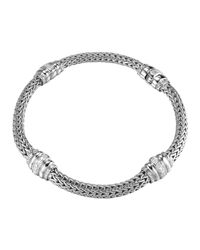 John Hardy   Metallic Bedeg Diamond-station Silver Bracelet   Lyst