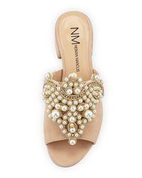 Neiman Marcus - Natural Delphinea Embellished Suede Slide Sandal - Lyst