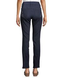 NYDJ Blue Sheri Slim-leg Floral Bling-pocket Jeans