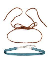 Chan Luu - Black Two-piece Leather & Velvet Choker Necklace Set - Lyst
