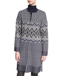 St. John - Multicolor Diamond-knit Crewneck Topper - Lyst