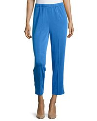 Ming Wang - Blue Straight-leg Ankle Pants - Lyst