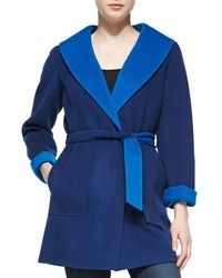 Neiman Marcus - Blue Double-face Coat With Tie Belt - Lyst