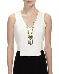 Devon Leigh - Multicolor Long Beaded Tasseled Pendant Necklace - Lyst