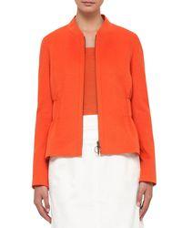 Akris Punto - Orange Gathered-waist Zip-front Jacket - Lyst