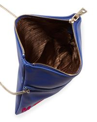 Love Moschino - Blue Logo Embroidered Flap Shoulder Bag - Lyst