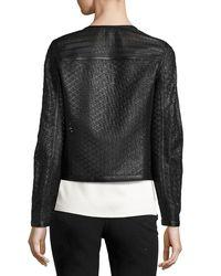 ESCADA | Black Perforated Leather Moto Jacket | Lyst
