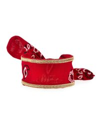 Lydell NYC - Red Chain-trimmed Bandana Cuff Bracelet - Lyst