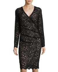 Nicole Miller Artelier | Black Lace Long-sleeve V-neck Dress | Lyst