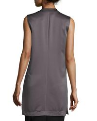 Laundry by Shelli Segal | Gray Open-front Satin Vest | Lyst