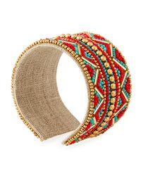 Nakamol - Orange Wide Beaded Cuff Bracelet - Lyst