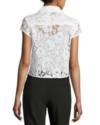 Nanette Nanette Lepore - White Cap-sleeve Floral-lace Jacket - Lyst